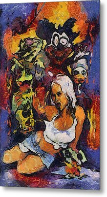 Sexy Pinup Zombie Painting Metal Print by Teara Na