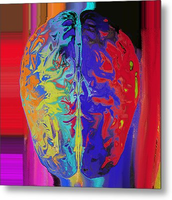 Shiny Brain Metal Print by Soumya Bouchachi