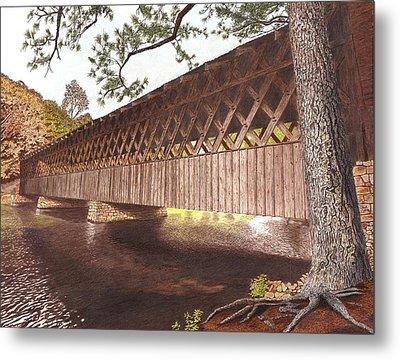 Stone Mountain Covered Bridge Metal Print by Cloud Farrow