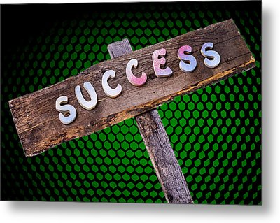 Success Sign Post Metal Print by Donald  Erickson