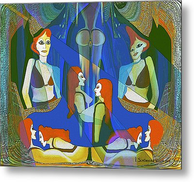 Summer Night Meeting  - 124 Metal Print by Irmgard Schoendorf Welch