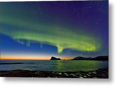 Sunset And Aurora Oval Metal Print