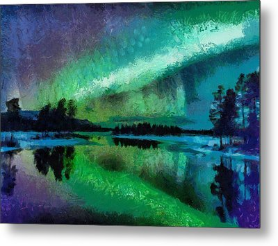 Sunset In Lapland Aurora Borealis Metal Print