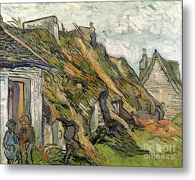 Thatched Cottages In Chaponval Metal Print by Vincent van Gogh
