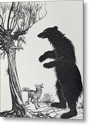 The Bear And The Fox Metal Print
