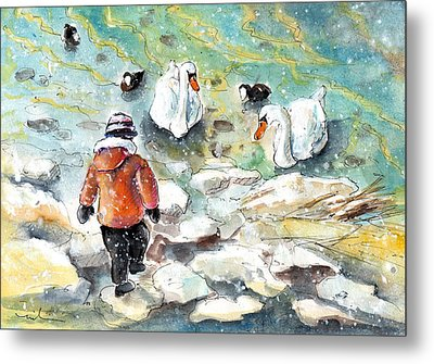 The Child And The Birds On Lake Constance Metal Print by Miki De Goodaboom