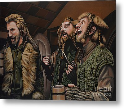 The Hobbit And The Dwarves Metal Print by Paul Meijering