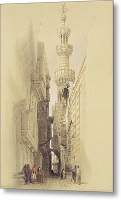 The Minaret Of The Mosque Of El Rhamree Metal Print by David Roberts