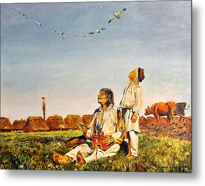 End Of The Summer- The Storks Metal Print by Henryk Gorecki