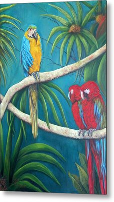 Three Is A Crowd,macaws Metal Print