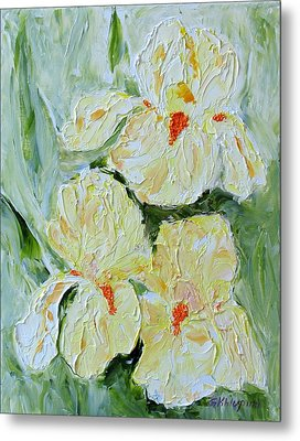Three Yellow Irises Metal Print