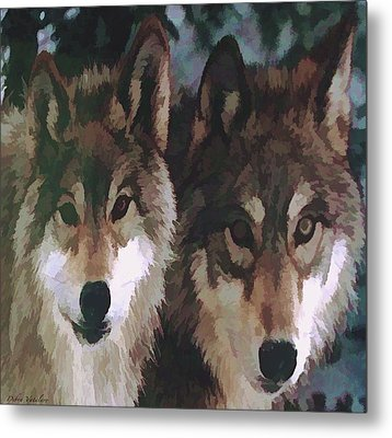 Together Forever Wolves Metal Print