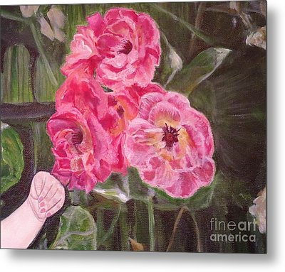 Metal Print featuring the painting  Touch Of The Roses Painting by Kimberlee Baxter