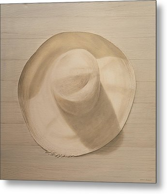 Travelling Hat On Dusty Table Metal Print