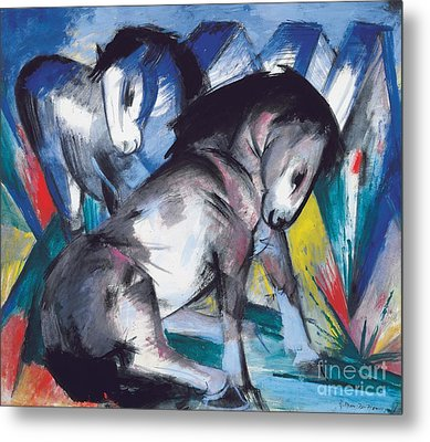 Two Horses Metal Print by Franz Marc