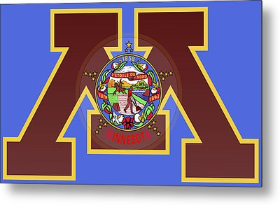 U Of M Minnesota State Flag Metal Print by Daniel Hagerman