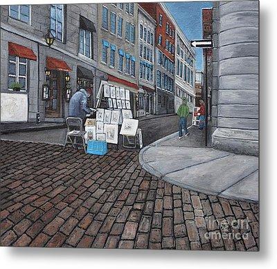 Vendeur Sur La Rue Vieux Montreal Metal Print by Reb Frost