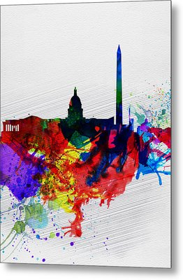 Washington Dc Watercolor Skyline 1 Metal Print