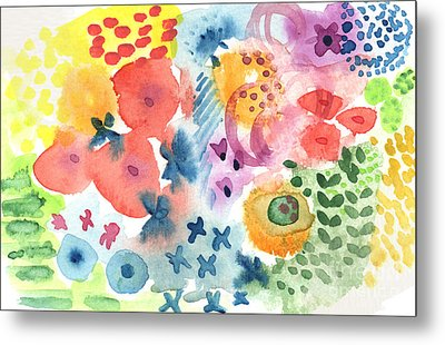 Watercolor Garden Metal Print by Linda Woods