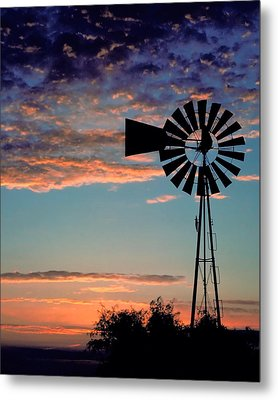 Windmill At Dawn Metal Print by David and Carol Kelly