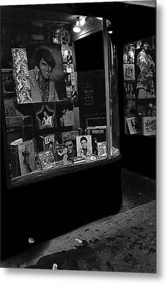 Metal Print featuring the photograph  Window Display Night Of Elvis Presley's Death Recordland Portland Maine  1977 by David Lee Guss