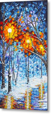 Metal Print featuring the painting  Silence Winter Night Light Reflections Original Palette Knife Painting by Georgeta Blanaru