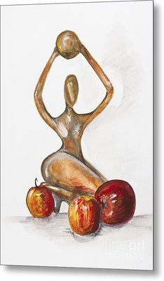 Woman In The African Style  With Red Apples Metal Print by Irina Gromovaja