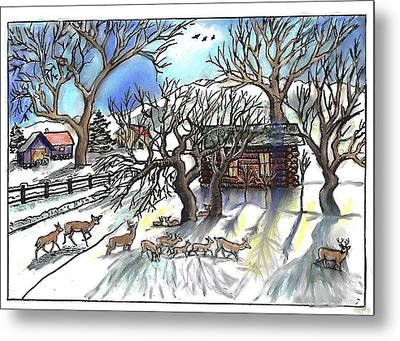 Wyoming Winter Street Scene Metal Print