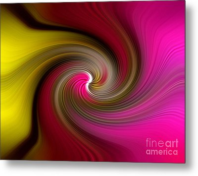 Yellow Into Pink Swirl Metal Print