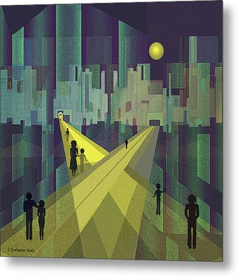 003 - Nightwalking  To A Distant City Metal Print by Irmgard Schoendorf Welch