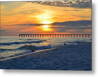 0108 Sunset Colors Over Navarre Pier On Navarre Beach With Gulls Metal Print by Jeff at JSJ Photography