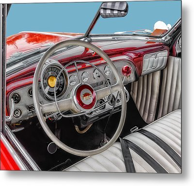 1951 Ford Interior Driver Controls Metal Print by Frank J Benz