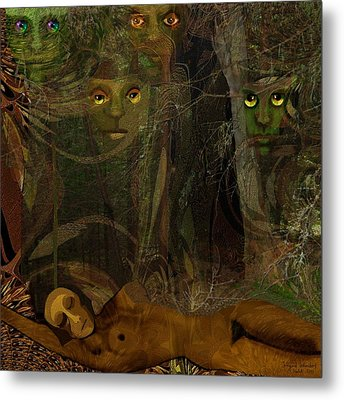 026  - Some Are Forever Sleeping In The Woods Metal Print by Irmgard Schoendorf Welch