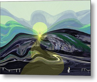 033 -  Mountain Morning With Angel   Metal Print by Irmgard Schoendorf Welch