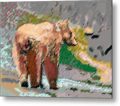 081914 Pastel Painting Grizzly Bear Metal Print
