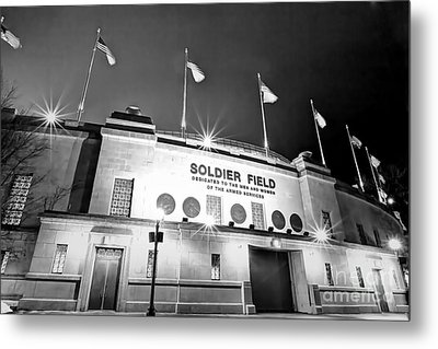 0879 Soldier Field Black And White Metal Print by Steve Sturgill