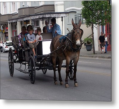 091114 Digital Dry Brush  New Orleans Carriages Metal Print