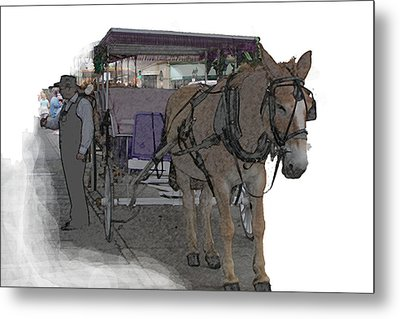 091614 Color Pencil Mule And Carriage Metal Print