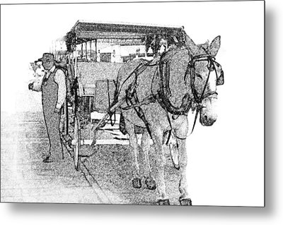 091614 Pen Drawing Carriages French Quarter Metal Print