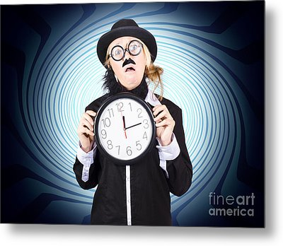 Nutty Professor With Clock. Crazy Science Time Metal Print