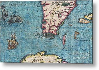 1591 De Bry And Le Moyne Map Of Florida And Cuba Metal Print