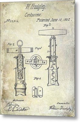 1862 Corkscrew Patent Drawing Metal Print by Jon Neidert