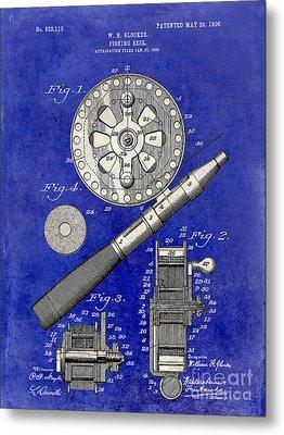 1906 Fishing Reel Patent Drawing Blue 2 Tone Metal Print