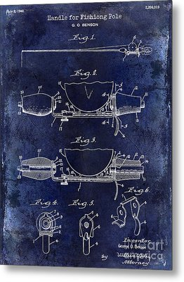 1940 Handle For Fishing Pole Patent Drawing Blue Metal Print