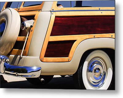 1950 Ford Custom Deluxe Station Wagon Rear End - Woodie Metal Print by Jill Reger