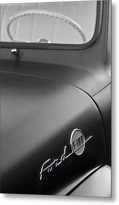 1953 Ford F-100 Pickup Truck Steering Wheel And Emblem Metal Print by Jill Reger