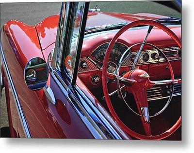 1955 Chevrolet Belair Steering Wheel Metal Print by Jill Reger
