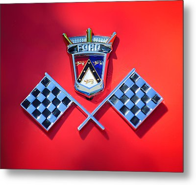 1955 Ford Thunderbird Emblem Metal Print by Jill Reger