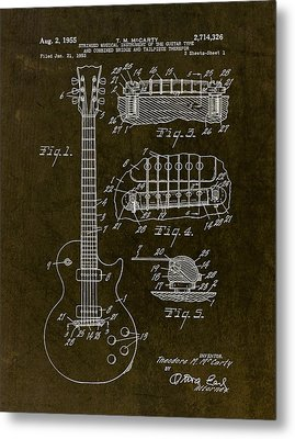 1955 Gibson Les Paul Patent Drawing Metal Print by Gary Bodnar