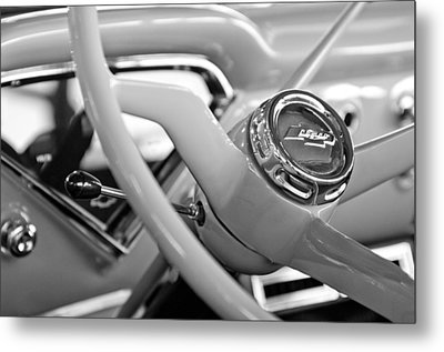 1957 Chevrolet Cameo Pickup Truck Steering Wheel Emblem Metal Print by Jill Reger